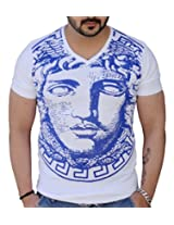Black Collection Men's V-Neck Cotton T-Shirt (BCSA0025_White_Medium)