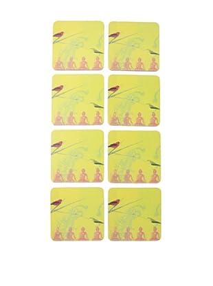 rockflowerpaper Set of 8 Warbler On Buddha Coasters