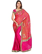 Sehgall Sarees Indian Professional Magenta Brasso Embroidery Saree