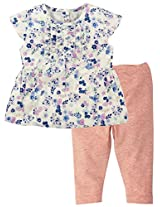 Floral Printed Cap Sleeves Top with Pant - Multi Coloured (0-6 Months)