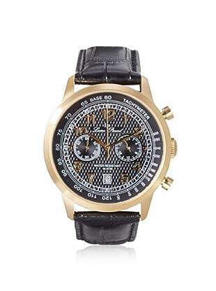 Lucien Piccard Men's 10526-YG-01 Ferden Black Textured Leather Watch