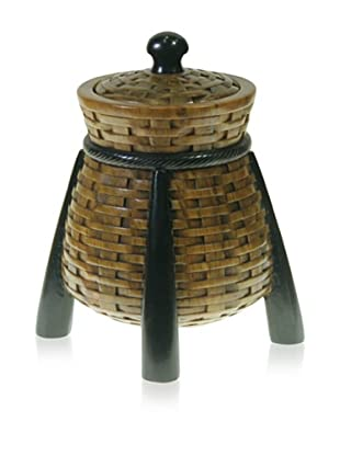 The Niger Bend Soapstone Box on Legs with Basketweave Design