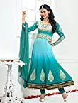 Semi Stitched Latest Arrival Sky Collection Designer Long Anarkali Suit