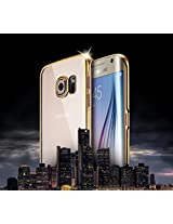 Majesty Noble Electroplated Golden Back Case Cover for Samsung Galaxy S6 Edge - Transparent
