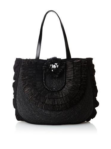 Felix Rey Women's Antigua Straw Tote, Black
