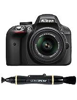 Nikon D3300 24.2MP CMOS Digital SLR with AF-S DX Nikkor 18-55mm f/3.5-5.6G VR II Zoom Lens (Black) + Lenspen NLP-1 Cleaning Brush (Black)