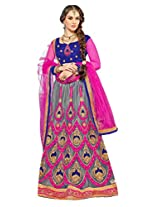 Manvaa Silver And Pink Net Lehenga for sale