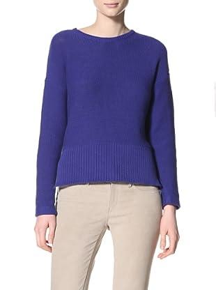 Acrobat Women's Reverse Jersey Side Slit Pullover Sweater (Cobalt)