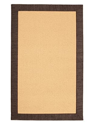 Natural Rugs Striped Chenille-Border Rug (Charcoal Black)