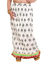 Exotic India Snow-White Crushed Elastic Long Skirt with Printed Trees an - White