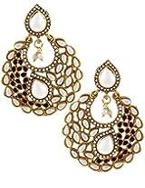 Karatcart 22K Goldplated White Pearl Dangle Earings Set For Women