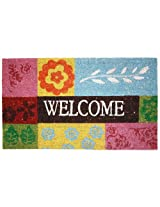 J & M Home Fashions Patchwork Quilt Welcome Vinyl Back Coco Doormat, 18-Inch by 30-Inch