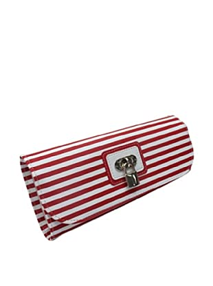 Morelle & Co. Classic Striped Travel Accessories Case with Lock and Key, Red