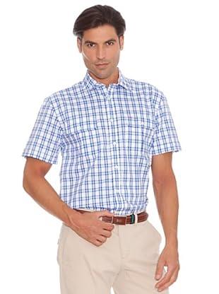Pedro Del Hierro Camisa Bolsillos Lino (Blanco / Azul)