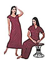 Indiatrendzs Honeymoon Nighties Nighty 2pc Set -Freesize