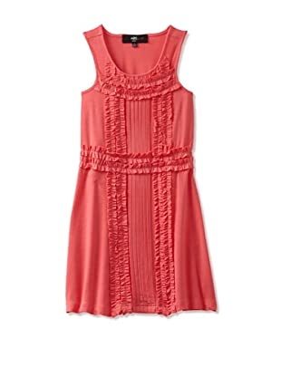 ABS Kids Girl's Ruffle Trim Pleated Front Dress (Coral)