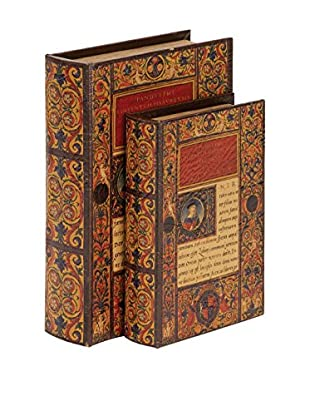 Set of 2 Wood Leather Book Boxes, Multi