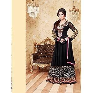 Fabfiza Rimi Sen Semi Stitched Anarkali Suit - Black