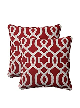 Pillow Perfect Set of 2 Outdoor New Geo Corded Throw Pillows, Red
