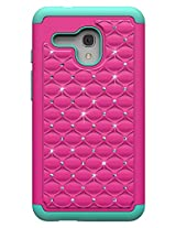 GALAXY WIRELESS Alcatel One Touch Fierce Hot Pink on Teal Diamond Studded Bling Crystal Rhinestone Dual Layer Hybrid Cover Silicone Rubber Skin Hard Bumper Case - X-Large
