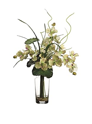 Allstate Floral Vanda Orchid & Water Lily Leaf in Glass, Green Burgundy