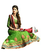 Melluha Green Net Embroidered Booti and Border work Lehenga with Chiffon Dupatta