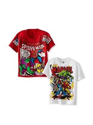 Freeze Boy's Marvel 2 Pack T-Shirt Bundle (White/Red)