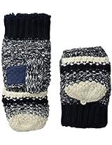 Isotoner Women's Sherpasoft Striped Popcorn Stitch Flip Top Mitten with Suede Palm Patch, Navy, One Size