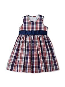 Baby CZ Girl's Belted Madras Dress (Red/Navy Madras)