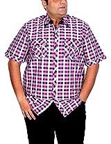 Xmex Men's Cotton Regular Fit Shirt (KR-244Pink-3XL)