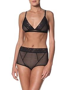 Samantha Chang Women's Triangle Bra (Black/Black Lace)
