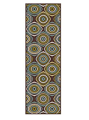 Universal Rugs Garden City Indoor/Outdoor Transitional Runner, Brown, 3' x 8'