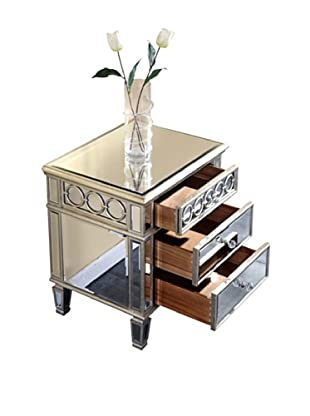 Audrey 2-Drawer Lamp Table, Silver Leaf