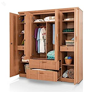 Style Spa Four-Door Wardrobe with Natural Finish - Metro