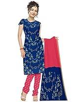 Kala Sanskruti Women's Cotton Silk Blend Blue Dress Material