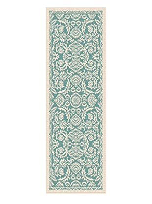 Universal Rugs Garden City Indoor/Outdoor Transitional Runner, Aqua, 3' x 8'