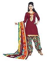 Divisha Fashion Maroon Cotton Printed Patiyala Suit with Dupatta