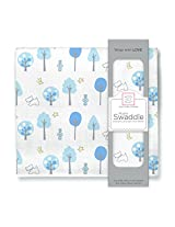 SwaddleDesigns Muslin Swaddle Blanket, Blue Forest, Blue