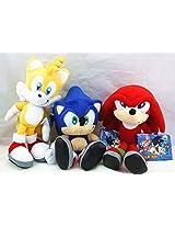 3pcs Sega Sonic the Hedgehog Classic Character Plush Stuffed Doll Toy Rare Style