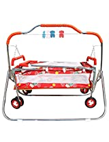 My Angel Steelcraft 6 In 1 Baby Cradle, Cot, Crib, Bassinet, Stroller, and Swing - Red