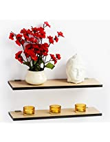 Bluewud Wall Shelf & Display Rack - Stellar Series (Pine, 4.75 x 15.75 inch, set of 2)