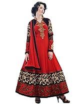 Inddus Exclusive Women Red & Black Partywear Anarkali Suit Set