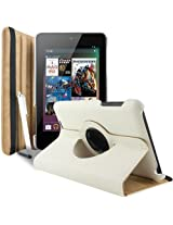 Gioiabazar 360 Degree Rotating Smart Leather Case Cover For Asus Google Nexus 7 2012 1st Generation Tablet White GB10133
