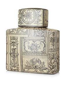Venezia Renaissance Covered Porcelain Jar - Small (Cream/Black)