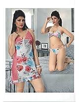 Indiatrendzs Women's Hot Sexy Sleepwear Nighty Printed Sheer Net Short Dress 3pc Set