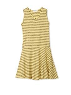 eggi kids Girl's V-Neck Tank Dress (Lemon Drop Stripe)