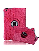HDE iPad Mini Tablet Case Rotating Flip Stand Folding Magnetic Cover for Apple Mini 2/3 Retina (Pink Cartoon)
