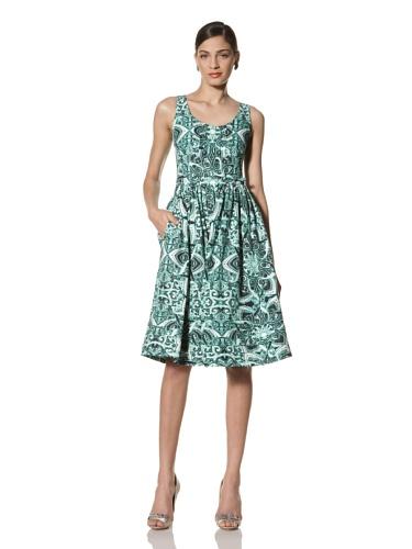 Jonathan Saunders Women's Yvie Print Pleated Bib Dress (Star Jade)