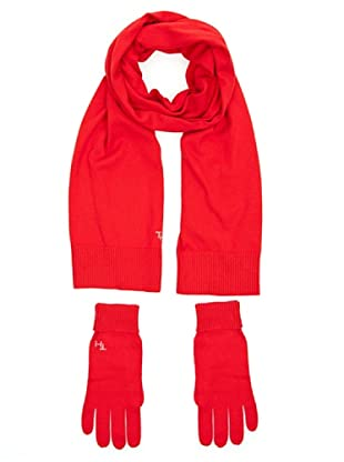 Tommy Hilfiger Bufanda + guantes (Rojo)