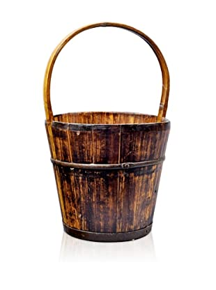 Antique Revival Wooden Water Bucket, Natural Pine